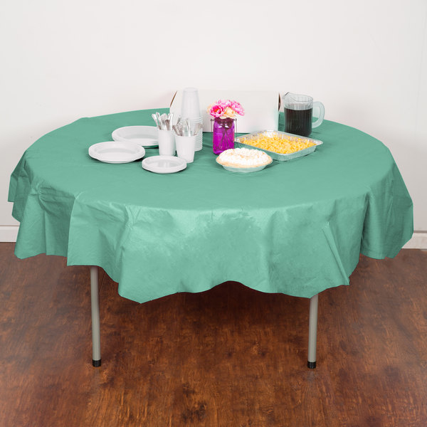 """Creative Converting 318902 82"""" Fresh Mint Green OctyRound Tissue / Poly Table Cover - 12/Case"""