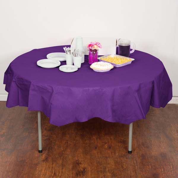 "Creative Converting 318941 82"" Amethyst Purple OctyRound Tissue / Poly Table Cover - 12/Case Main Image 4"
