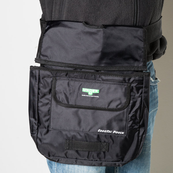 "Unger BSPOU ErgoTec 14 1/2"" x 12"" Black 3-Compartment Pouch"