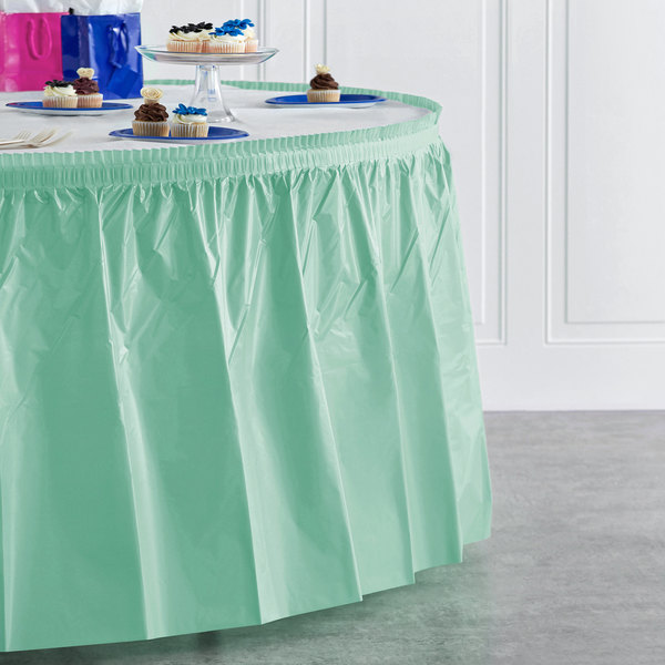 "Creative Converting 318892 14' x 29"" Fresh Mint Green Plastic Table Skirt"