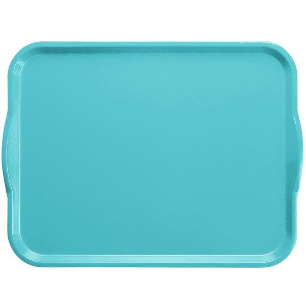 "Cambro 1418H518 14"" x 18"" Robin Egg Blue Rectangular Customizable Fiberglass Camtray with Handles - 12/Case"