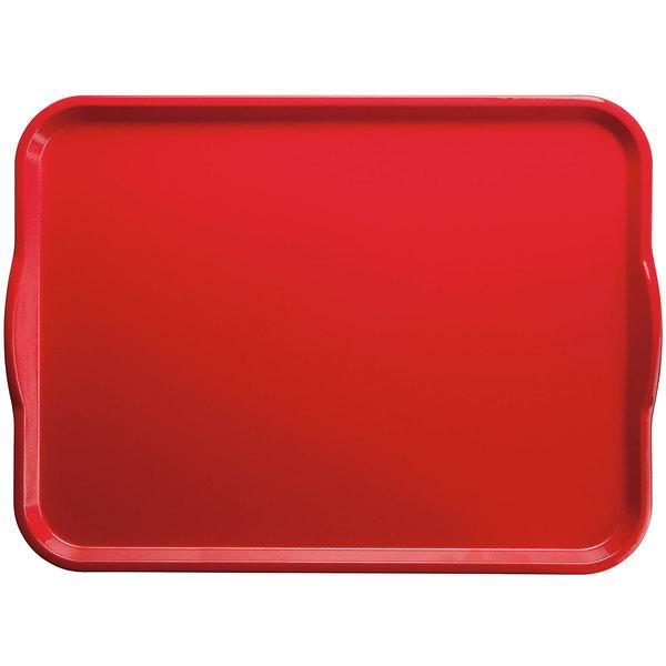 """Cambro 1418H521 14"""" x 18"""" Cambro Red Rectangular Customizable Fiberglass Camtray with Handles - 12/Case"""