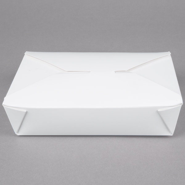 Bio-Pak 02BPWHITEM 8 inch x 6 inch x 2 inch White Microwavable Paper #2 Take-Out Container  - 200/Case