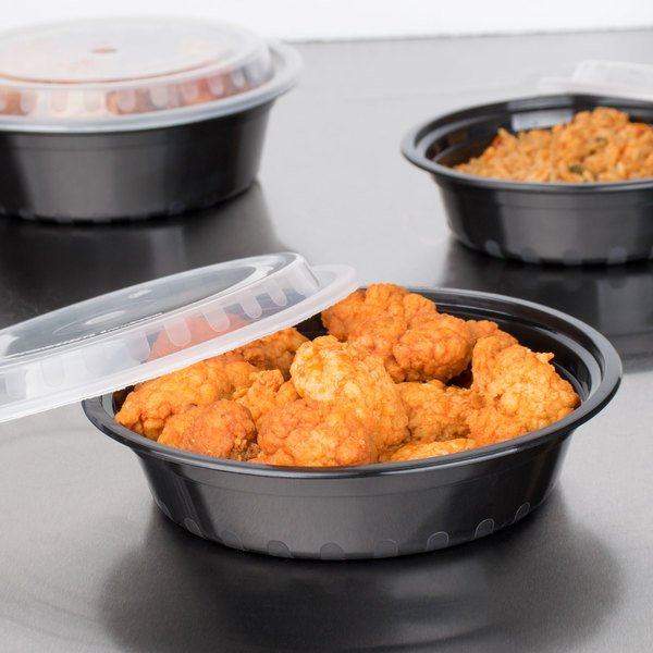 """Choice 24 oz. Black 7 1/4"""" Round Microwavable Heavyweight Container with Lid - 10/Pack"""