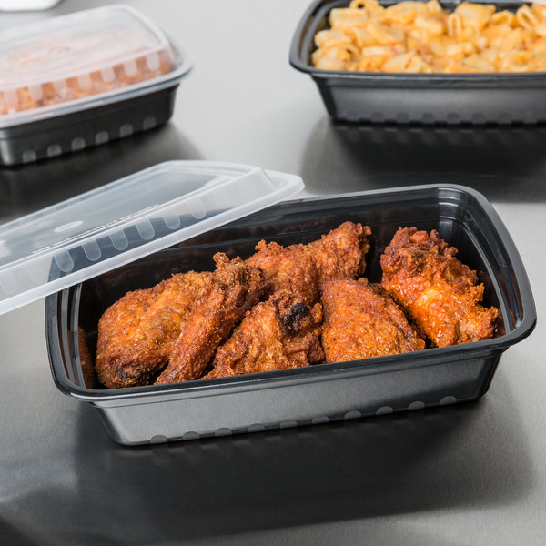 """Choice 28 oz. Black 8 3/4"""" x 6 1/4"""" x 1 3/4"""" Rectangular Microwavable Heavyweight Container with Lid - 10/Pack"""