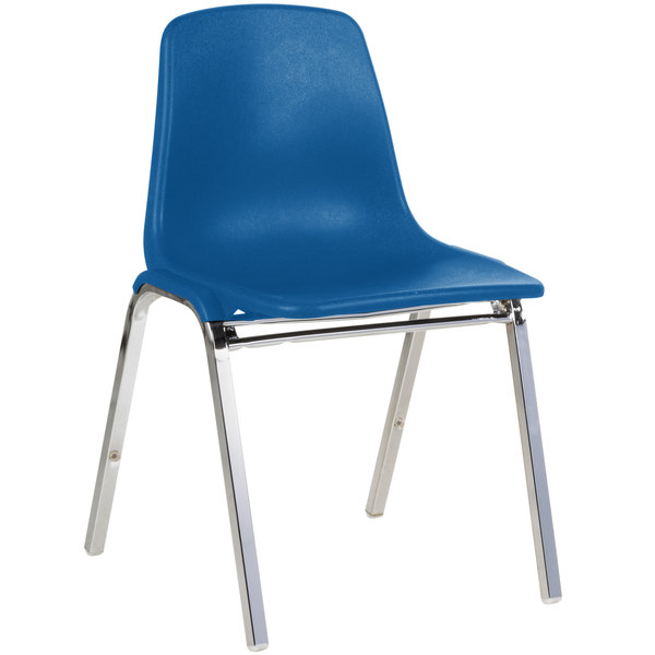 National Public Seating 8125 Chrome Metal Stacking Chair with Blue Poly Shell Back and Seat Main Image 1
