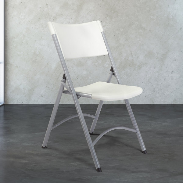 National Public Seating 602 Textured Gray Steel Folding Chair with Speckled Gray Blow Molded Plastic Back and Seat