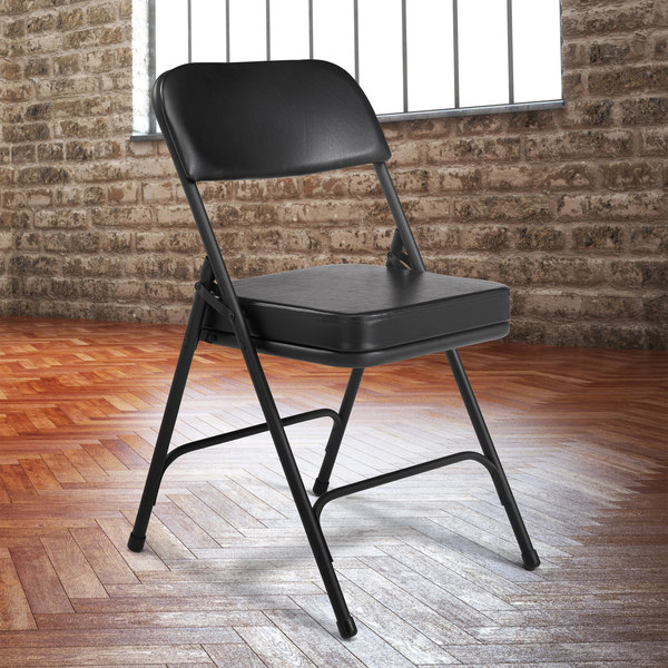 National Public Seating 3210 Black Steel Folding Chair with 2  Black Vinyl Padded Back and Seat & National Public Seating 3210 Black Steel Folding Chair with 2