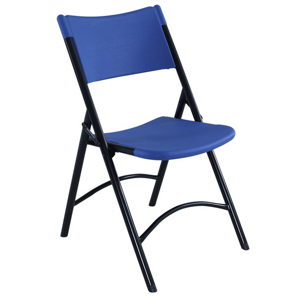 National Public Seating 604 Black Metal Folding Chair with Blue Blow Molded Plastic Back and Seat