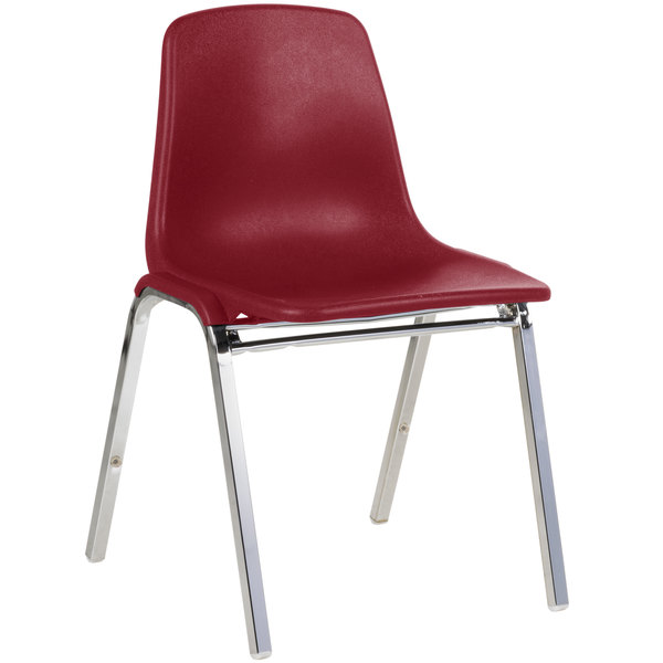 Genial National Public Seating 8118 Chrome Metal Stacking Chair With Burgundy Poly  Shell Back And Seat