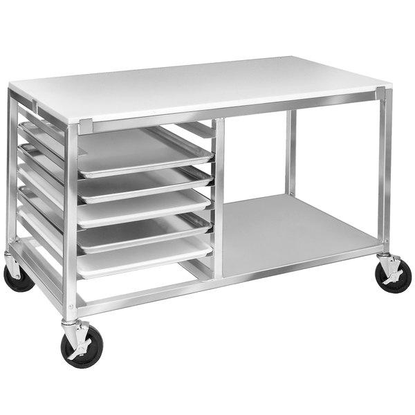 Channel MW247/P 7 Pan End Load Undercounter Prep Top Sheet / Bun Pan Rack with Open Shelf - Assembled