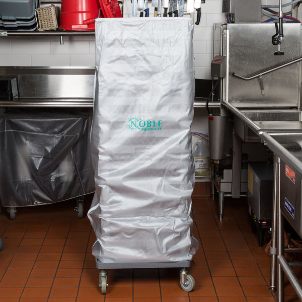 Noble Products glass rack cover covering glass rack on casters in commercial kitchen