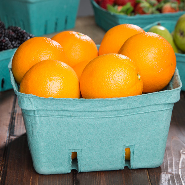 EcoChoice 2.5 Qt. Green Molded Pulp Berry / Produce Basket - 10/Pack
