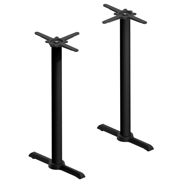 "FLAT Tech CT2031 22"" Black Auto Adjustable Cast Iron Bar Height Table Base Set"