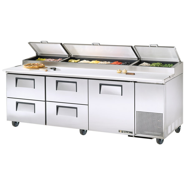"""True TPP-93D-4 93"""" Refrigerated Pizza Prep Table with One Door and Four Drawers"""
