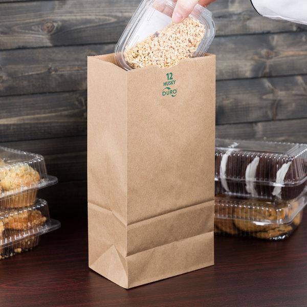 Duro Husky Heavy-Duty 12 lb. Brown Paper Bag - 500/Bundle