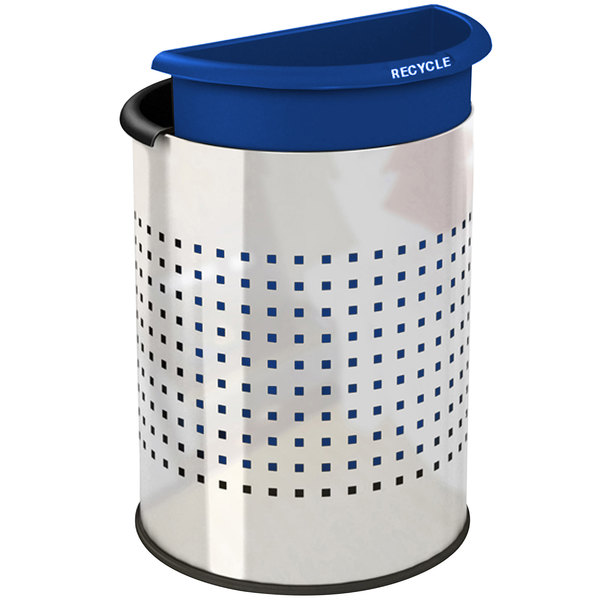Commercial Zone 780900 Precision InnRoom 12.8 Qt. / 3.2 Gallon Stainless Steel Round Recycler Trash Receptacle / Wastebasket with Black and Blue Liners Main Image 1
