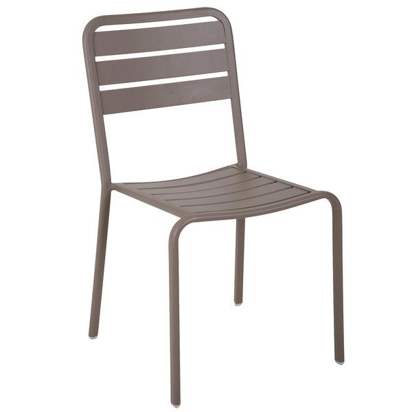 BFM Seating DV452ER Vista Earth Stackable Aluminum Outdoor / Indoor Side Chair
