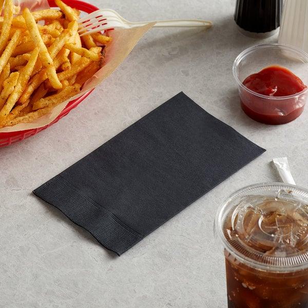 "Choice 15"" x 17"" Customizable Black 2-Ply Paper Dinner Napkin - 125/Pack Main Image 3"