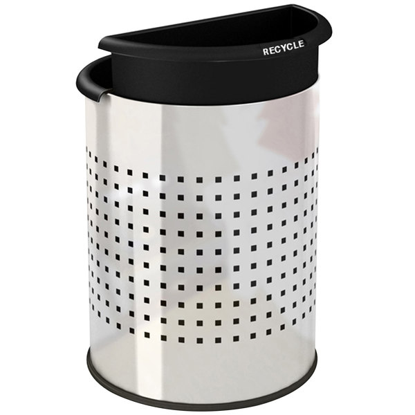 Commercial Zone 780931 Precision 12.8 Qt. / 3.2 Gallon Stainless Steel InnRoom Recycler Trash Receptacle / Wastebasket with Black Liners