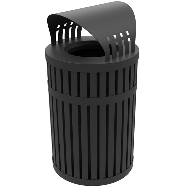 Commercial Zone 72830199 ArchTec Parkview 45 Gallon Round Black Steel Outdoor Trash Receptacle with Canopy Main Image 1