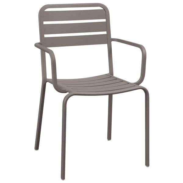 BFM Seating DV352ER Vista Earth Stackable Aluminum Outdoor / Indoor Arm Chair