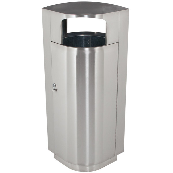 Commercial Zone 782029 Leafview 20 Gallon Oval Stainless Steel Trash Receptacle Main Image 1