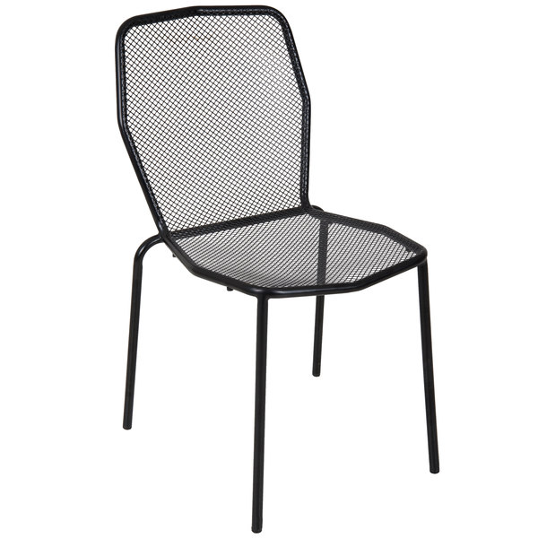 BFM Seating DV454BL Avalon Black Stackable Steel Outdoor / Indoor Side Chair