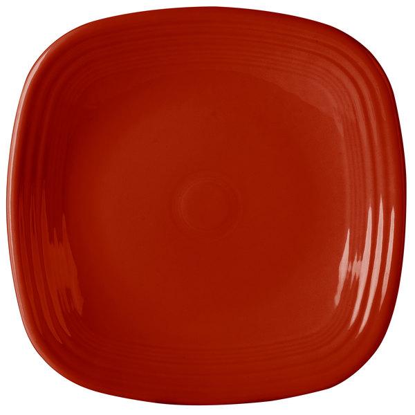 "Homer Laughlin 919326 Fiesta Scarlet 10 3/4"" Square Plate - 12/Case"