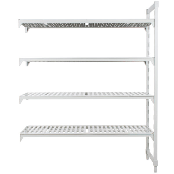 "Cambro CPA217264V4PKG Camshelving® Premium Vented Add On Unit 21"" x 72"" x 64"" - 4 Shelf"