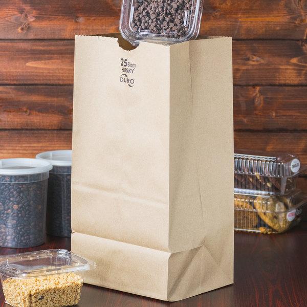Duro Husky Heavy-Duty 25 lb. Shorty Brown Paper Bag - 500/Bundle