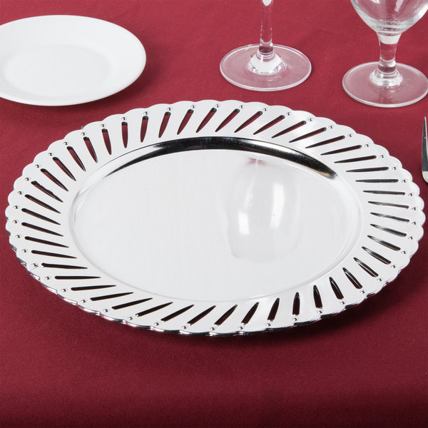 """The Jay Companies 1270251-4 13"""" Round Silver Track Plastic Charger Plate"""