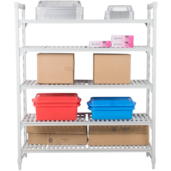 "Cambro CPU182484V5PKG Camshelving® Premium Shelving Unit with 5 Vented Shelves 18"" x 24"" x 84"""