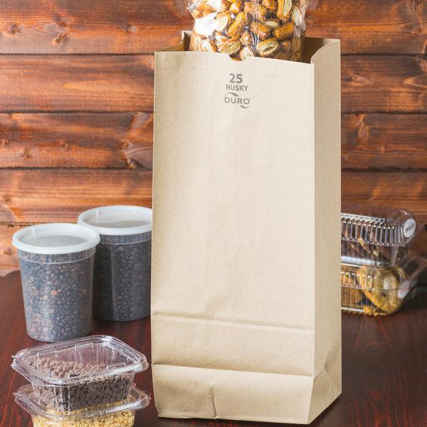 Duro Husky Heavy-Duty 25 lb. Brown Paper Bag - 500/Bundle