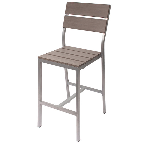 BFM Seating PH202BGRTK-SG Seaside Soft Gray Aluminum Outdoor / Indoor Side Bar Height Chair with Gray Synthetic Teak Back and Seat Main Image 1