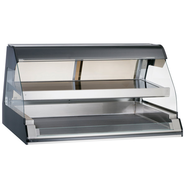 """Alto-Shaam ED2-48/2S BK Black Two-Tiered Heated Display Case with Curved Glass - Self Service 48"""" Main Image 1"""