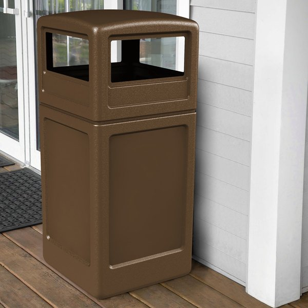 Commercial Zone 73293799 PolyTec 42 Gallon Square Brown Waste Container and Dome Lid Set Main Image 4