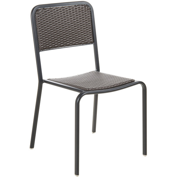 BFM Seating DV453MOBL Rio Black Stackable Aluminum Outdoor / Indoor Side  Chair With Mocha Synthetic Wicker Back ...