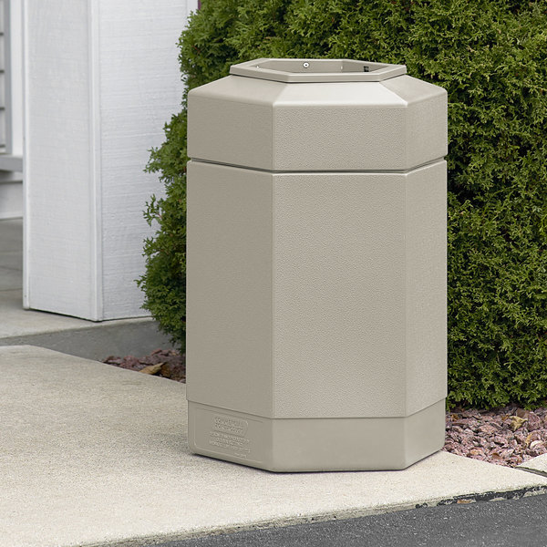 Commercial Zone 737102 PolyTec 30 Gallon Beige Hexagonal Waste Container with Open Top Main Image 2