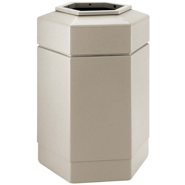 Commercial Zone 737102 PolyTec 30 Gallon Beige Hexagonal Waste Container with Open Top
