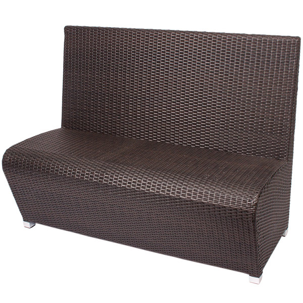 BFM Seating PH7100JV Cancun Java Aluminum Booth Bench with Synthetic Weave Back and Seat Main Image 1