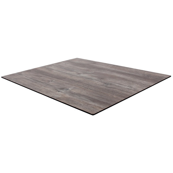 """BFM Seating TR3636DW 36"""" x 36"""" Square Tribeca Driftwood Composite Laminate Outdoor / Indoor Table Top with Knife Edge"""