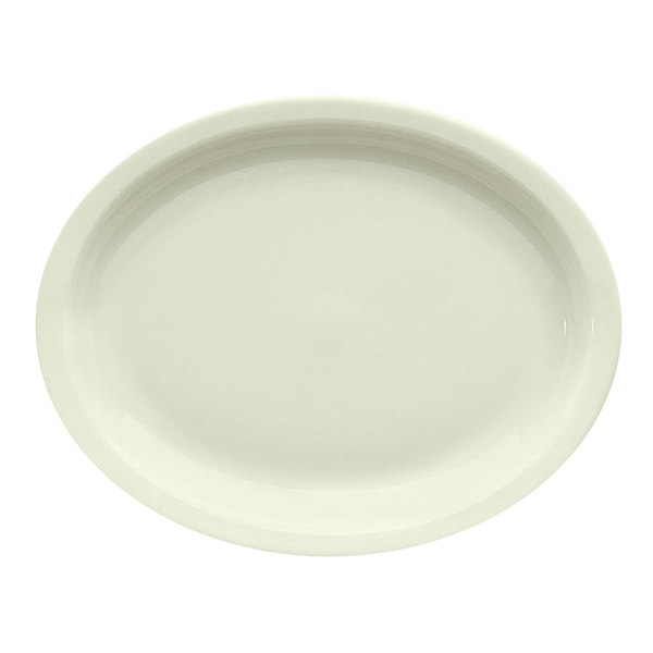 "Homer Laughlin 26000 11 3/8"" Ivory (American White) Narrow Rim Oval China Platter - 12/Case"