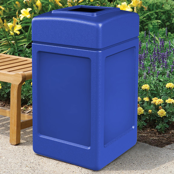 Commercial Zone 732104 PolyTec 42 Gallon Square Blue Waste Container Main Image 4