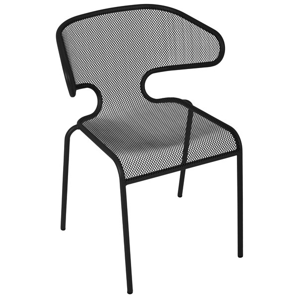 BFM Seating DV360BL Maze Black Stackable Steel Outdoor / Indoor Armchair