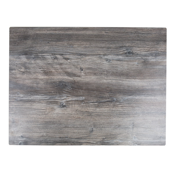 """BFM Seating TRN2432DW Tribeca 24"""" x 32"""" Rectangular Driftwood Composite Laminate Outdoor Table Top with Knife Edge Main Image 1"""