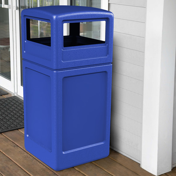 Commercial Zone 73290499 PolyTec 42 Gallon Square Blue Waste Container and Dome Lid Set Main Image 4
