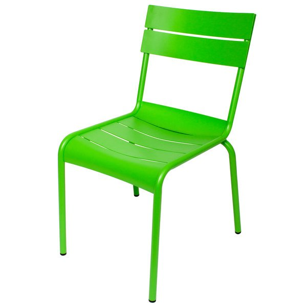 BFM Seating MS802CLM Beachcomber Lime Stackable Aluminum Outdoor / Indoor Side Chair Main Image 1