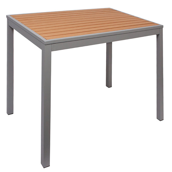 """BFM Seating PH4L3232TKSV Longport 32"""" Square Silver Aluminum Outdoor / Indoor Standard Height Table - Synthetic Teak Main Image 1"""
