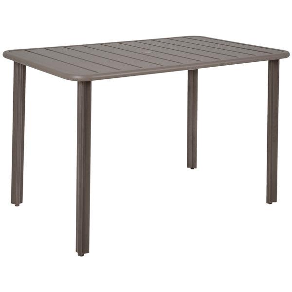 "BFM Seating DVV3248ERU Vista 32"" x 48"" Rectangular Earth Aluminum Outdoor / Indoor Standard Height Table with Umbrella Hole Main Image 1"